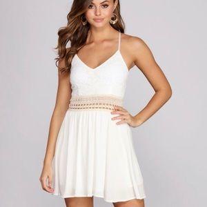 Crochet Lace Mini Dress (Ivory)